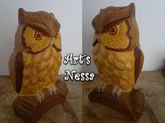 Art's Nêssa - Artesanato: Coruja gorda 14cm (mudança nos olhos)