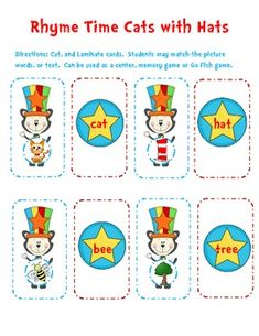 Cute Rhyming Game! 56 cards, includes rhyming picture cards and word cards for each rhyming set. Can be used as a center, memory game, or Go Fish game. If you like this activity, check out my other rhyming activities: Rhyming Cut and Paste Activity Sheets Rhyming Snowflakes Center or Matching Game Rhyming Picture Word Cards or Center Spring Rhyming Picture Word Cards or Center rhyming game, literacy center ideas, printables