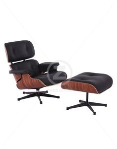 Replica Eames Lounge Chair Ottoman Premium WhiteRosewood