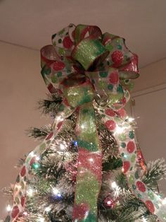 Large Christmas Tree Topper Bow 2 Ribbons By Creativelycarole