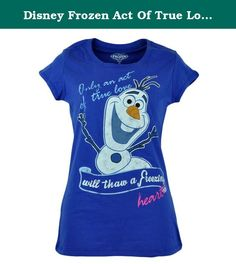 """Disney Frozen Act Of True Love Olaf Junior Girls Tshirt Graphic Tee Large 11/13. A scene-stealing snowman adds festive charm to this cute girls tee. Featuring a distressed graphic print of the lovable Olaf the Snowman with the famous """"Only An Act of True Love Will Thaw A Freezing Heart"""" across the front. This charming shirt adds a cheerful spirit of adventure to your ensemble. Authentic Disney Merchandise. Officially Licensed Product."""