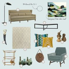 interior, design, mood board, masculine, living, room, mad men, mid century, modern