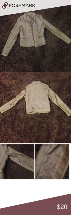 Light Brown Leather like Jacket It's a Light Brown Leather like Jacket from Kohls it has two half zipper Pockets in the front and there's a bleach stain I think on the right Arm there is a picture above Jackets & Coats