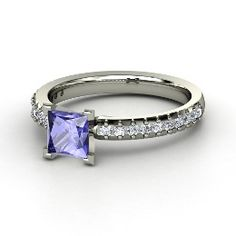Audrey Ring, Princess Tanzanite White Gold Ring with Diamond from Gemvara. Unique! LOVE it!