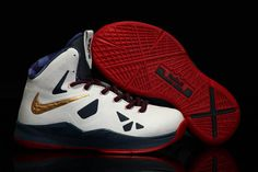 Kids Lebron X Shoes - Gold Medal/Navy Blue/University Red