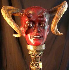 MEPHISTOPHELES Gothic OOAK Red Devil BUST Outsider ART