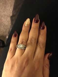 Rose Gold accent with Burgundy nails