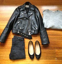 acne leather jacket + black & grey basics