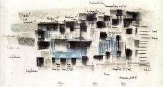 Peter Zumthor Therme Vals sketch Architecture Concept Drawings, Architecture Portfolio, Futuristic Architecture, Ancient Architecture, Sustainable Architecture, Landscape Architecture, Peter Zumthor, Therme Vals, Architectural Section