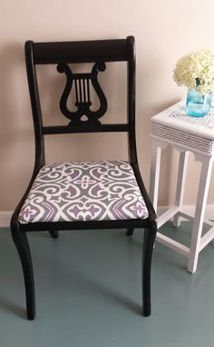 Lyre Chair - painted glossy black and recovered.