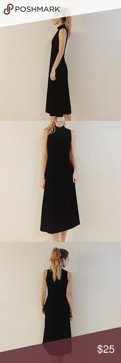 vintage black velvet midi dress offers welcome size 6 vintage black velvet midi dress with high neck. back neck zipper is partially stuck, but dress is still able to be pulled over head.  amazing condition •870067• Dresses Midi