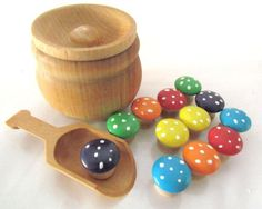 Based on both the Waldorf and Montessori methods, colour sorting sets will assist both toddler and preschooler with early learning and fine motor skills. All of our toys are hand painted with non-toxic acrylic paint and sealed with a couple coats of gloss. This keeps the toys vibrant and completely sealed without having to worry about dye from the colour transferring all over your child if they happen to get the toys wet. Explore and Learn Wooden Toys™ Pot of magic mushrooms includes: one…