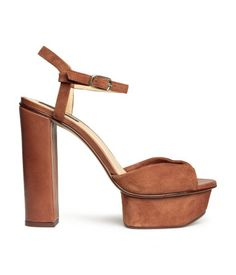 '70s style platform sandal in tawny brown suede with ankle strap. | H&M Shoes