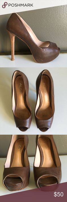 "Aldo Pumps - Size 6 (36) Aldo platform peeptoe pumps, size 6. Brown weathered leather, looks like some scuffs in general as shown in pics but purchased like that.   Approx heel height: 4.5"" Approx platform height: .75"" Aldo Shoes Platforms"