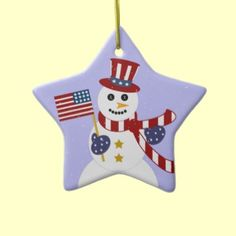 "Patriotic Snowman Personalized Christmas Ornament by XG Designs NYC. The back reads ""Merry Christmas!"" and a space for you to add a special persons name... and the year too! Great gift for a Veteran, Military service man or woman, or a military family! #Ornament #Snowman #Patriotic"