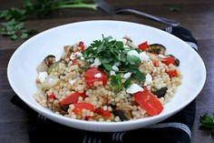 Israeli Couscous Salad with Roasted Vegetables and Goat Cheese