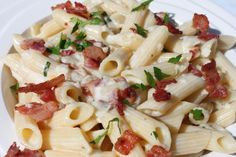 A light creamy sauce filled with a light coconut flavor, and a salty bacon crunch