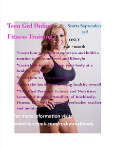 Teen Girl Online Training starting September 1st!!! It will be done via Facebook. spread the word with all teen girls in your life so I can share my knowledge and passion for health and fitness. #rockbody #teengirls #personaltraining #fitness #exercise #weightlifting #girlpower