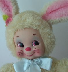 CUTEST Vintage RUSHTON ATLANTA Rubber Face Plush BUNNY PINK & YELLOW