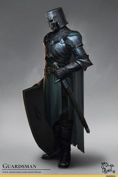 m Fighter Plate Armor Helm Shield Cloak LE Temple Guard urban city ArtStation Guardsman (I.Nephthyrion) Tate S Fantasy Armor, Medieval Fantasy, High Fantasy, Fantasy Character Design, Character Inspiration, Character Art, Character Concept, Dnd Characters, Fantasy Characters