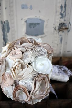 """Fabric bouquet, bridal bouquet, 8""""  Fabric wedding bouquet in champagne, cream and ivory on Etsy, $195.00"""