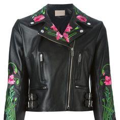 f58672308cb embroider leather jacket Motorcycle Jacket, Biker, Christopher Kane, Jackets  For Women, Leather