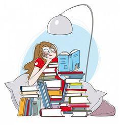 Heaps of books to read / Montones de libros para leer (ilustración de Nathalie Jomard)