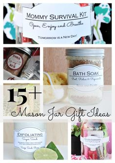 Last week, Mal and I shared 4 different gifts that you can give inside a mason jar. Here are 15+ different ways to use a cute mason jar. Summer in a Jar Wedding Day Emergency Kit  No Bake Strawberry Cheesecake Mommy Survival Kit Sewing Kit in a Jar  Pie in a Jar Spa and Pampering in a Jar Pedicure in a Jar DIY Bath Soak Cookie Mix in a Jar Hand Soap in a Jar Pork Rub in a Jar DIY Sugar Scrub Housewarming Gift in a Jar   Lemon Cookie Mix  Pancake Mix in a Jar  Much Love,
