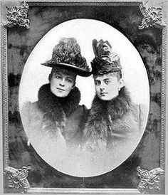 The last photograph taken of Baroness Mary Vetsera (at right), wearing the dress in which she was buried. On the left is Countess Marie Larisch, cousin of Crown Prince Rudolf who arranged assignations between him and Vetsera.