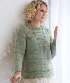 "Tunisian Stitch Crochet Sweater     I/9 (5.5mm)      medium/worsted/aran (4)      gauge: 16sts & 14 rows = 4""(10cm) in hdc & Tks"