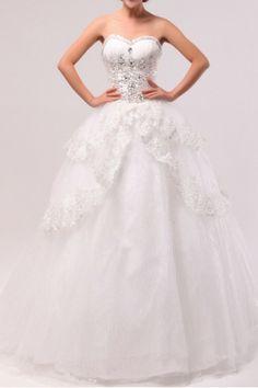 Organza Sweetheart Floor Length Ball Gown Wedding Dress with Crystal - Alice Bridal
