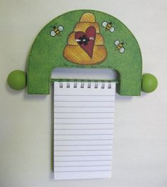 Beehive and Bees, Note Pad Holder, 3 x 5, Reclaimed Wood, Tole Painted