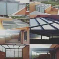 Cerramiento de ático con techo fijo y cortinas de vidrio espaluz
