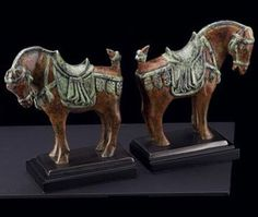 Marbleized Brass Horse Bookends - Set of Two