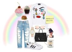 """""""at  least  mondays  only  happen  once  a  week"""" by ririkonsta ❤ liked on Polyvore featuring Boutique Moschino, adidas, Nine West, Yves Saint Laurent and Post-It"""