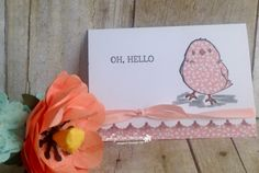 handmade greeting card ... Chick Attitude... from  Rambling Rose Studio by Billie Moan ... paper pieced chick ... white, pink and gray ... luv her styling ... Stampin' Up!