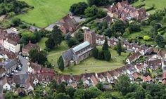 St Nicholas Church in Castle Hedingham - Essex aerial St Nicholas Church, Saint Nicholas, Hedingham Castle, Aerial Images, Knights Templar, Cathedrals, Great Britain, Dolores Park, Saints