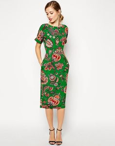 ASOS | ASOS Midi Wiggle Dress in Paisley Print at ASOS