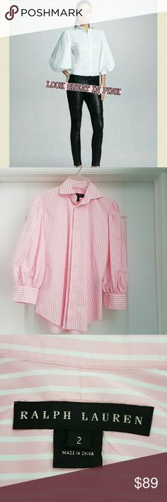 Ralph Lauren black label pink striped shirt This is the higher end of all LR products.  The quality is just unbelievable.  100%cotton.  The sleeveless are puffy,  maybe not as much as in the first picture. Beautiful shade of pink.  In like new condition. Ralph Lauren Tops Button Down Shirts