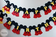 Mickey Mouse Birthday Banner Mickey Banner by RaisinsPartySupplies