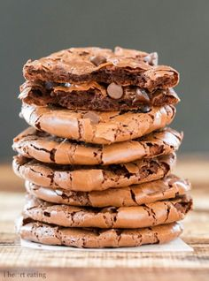 These rich, chocolaty, gluten free cookies taste like edge edge of a brownie but have less than 70 calories per cookie!
