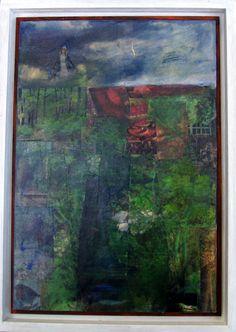 """ingelijst blaadje uit mijn schildersdagboek """"verdwenen tijd"""" """"verwilderde tuin"""" www.nellyvanantwerpen.exto.nl"""