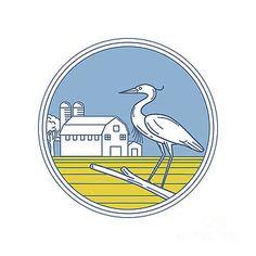 Great Blue Heron Farm Barn Circle Retro by Aloysius Patrimonio