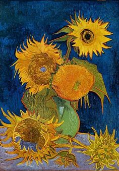 The mystery of van Gogh's Sunflowers. Impressionism by Vincent Van Gogh. Van Gogh paintings are studies in color. Be inspired by his art to help you understand how to put a paint color scheme together. Art Van, Van Gogh Art, Rembrandt, Vincent Van Gogh, Fleurs Van Gogh, Monet, Van Gogh Pinturas, Van Gogh Sunflowers, Van Gogh Paintings
