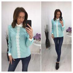 Блуза с белым кружевом, цвет ментол 6471 https://privately.ru/bluzy/bluza-s-belym-kruzhevom-cvet-mentol-6471/  Цена: Р1200.00