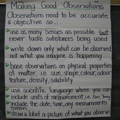 Science observations anchor chart- use for science notebooks- experiment log