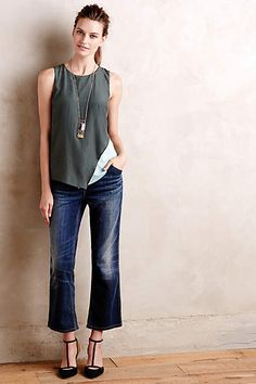 Cropped flares, draped tank, pendant, strappy pointy toe pumps