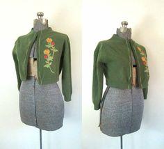 1950s Embroidered Shrug Cardigan Vintage by rileybellavintage, $32.00