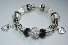 black and white pandora bracelets | PANDORA Bracelet Designed with European Beads and Charms Black ...