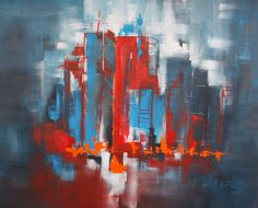 """100x80cm Acrylics - """"Urban Vibes #9 - Red, or Blue, or..."""""""